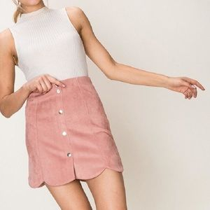 Pink Scalloped Suede Skirt (S)